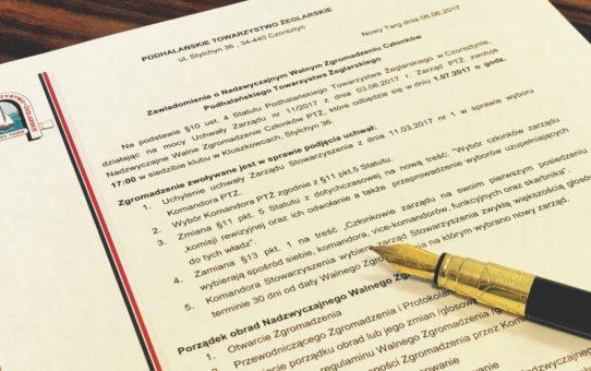 Zawiadomienie o Nadzwyczajnym Walnym Zgromadzeniu Członków Podhalańskiego Towarzystwa Żeglarskiego w Nowym Targu